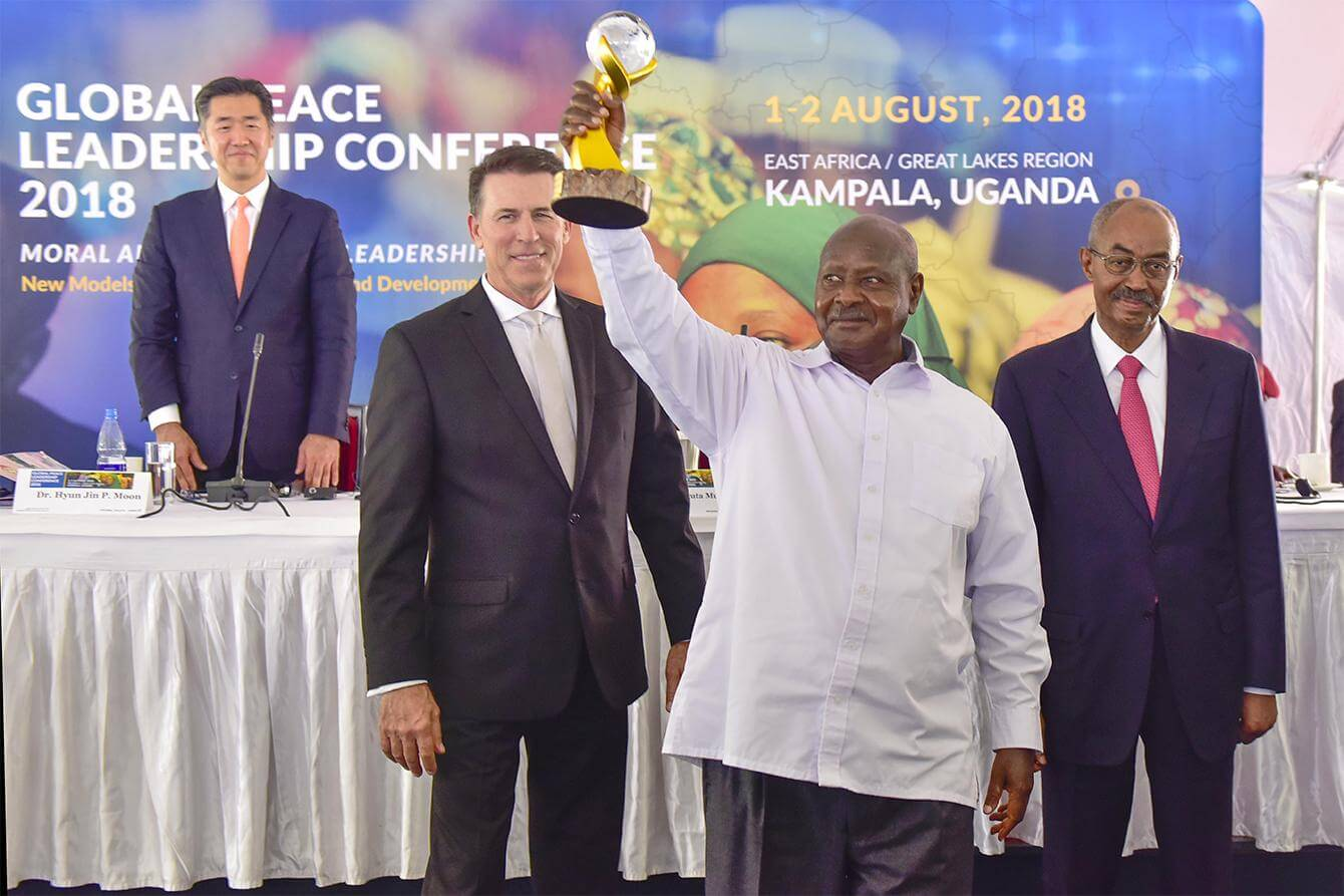 2nd August 2018 - President Yoweri Museveni recognised for his exeptional championiship of Peace - Global Peace Leadership Conference - Munyonyo - Kampala